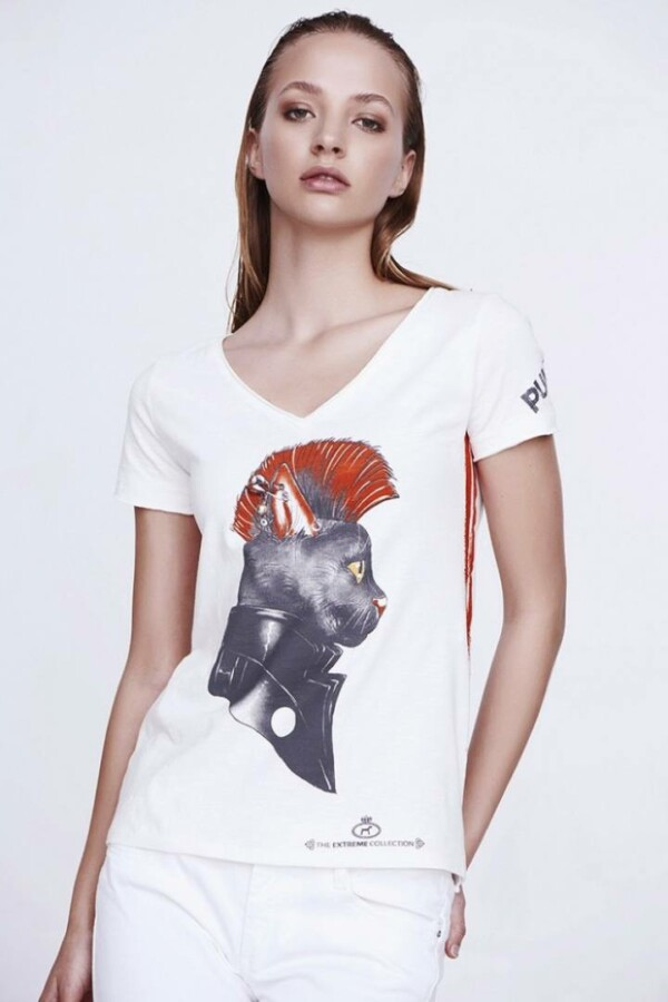 t-shirt punk panther white