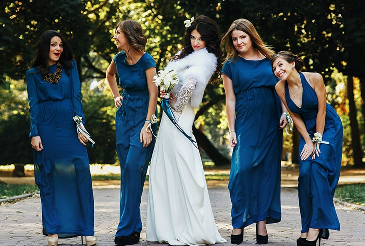 classic navy bridesmaid dresses