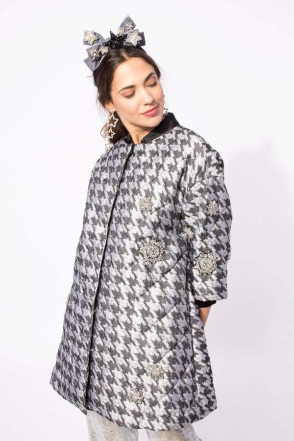 houndstooth print coat asterope