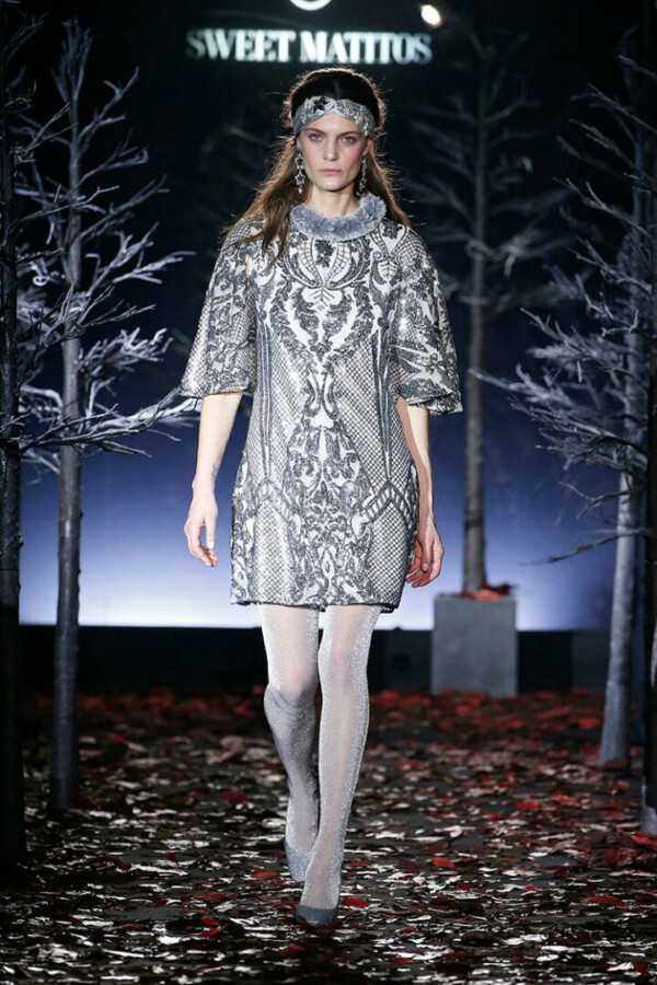 short dress with sequins and faux fur collar celeno silver