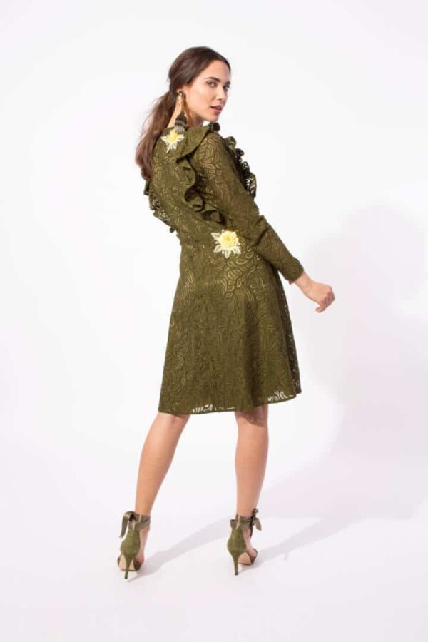 long sleeve khaki lace dress vela