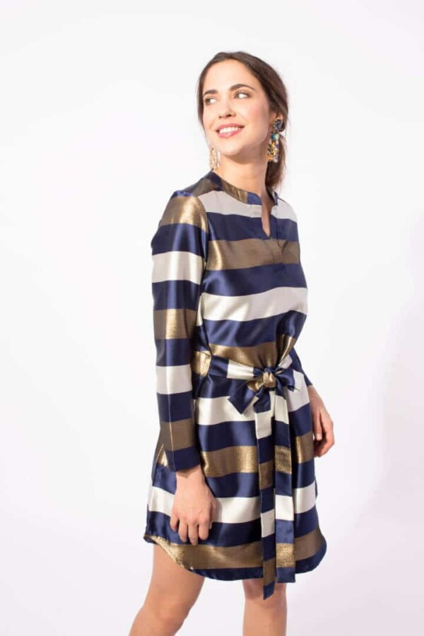 short blue, gold and white striped dress alnilam