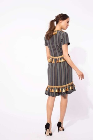 Asymmetric Dress with Pompoms ALMACH