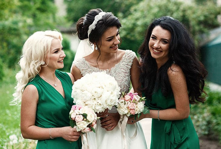 emerald-green bridesmaid dresses
