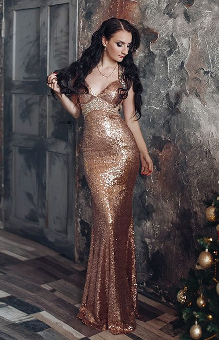 golden semi-formal dress