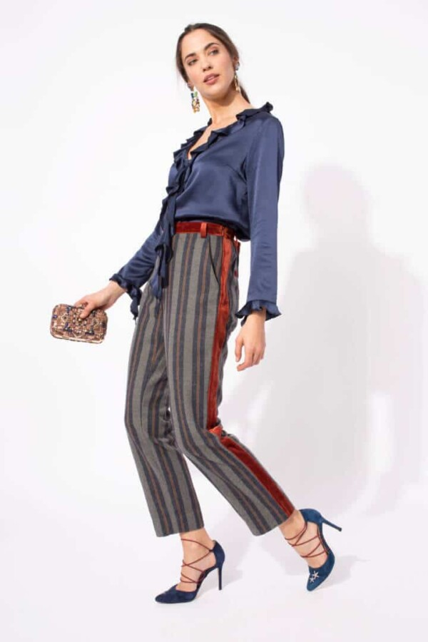 striped pants with copper velvet details barnard