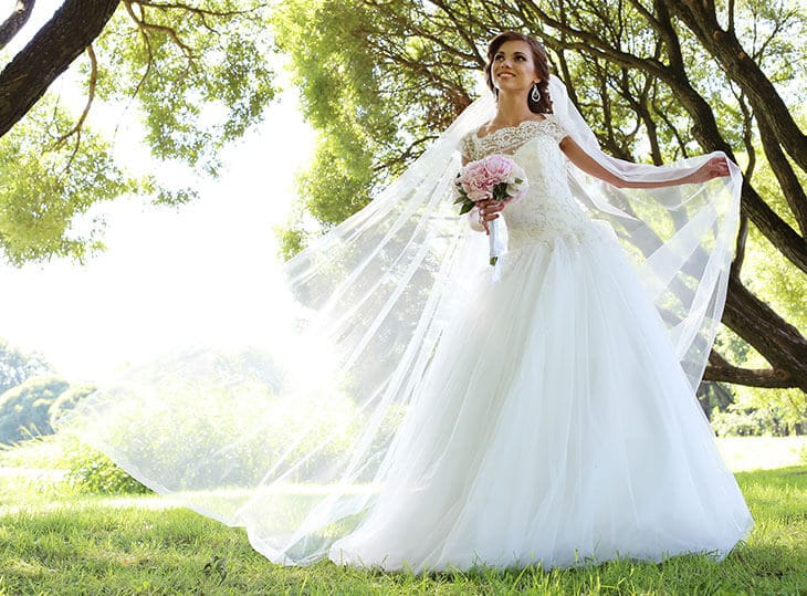 young beautiful woman wearing her wedding dress