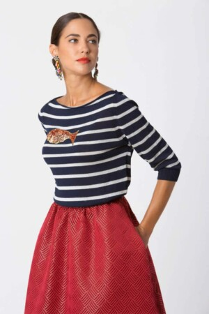 Blue and silver striped sweater BASIL