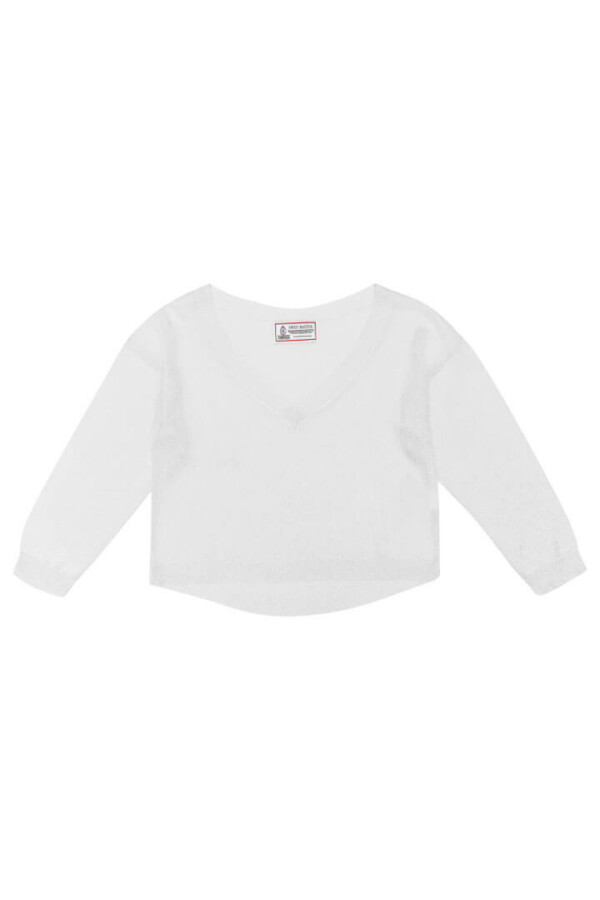 silver long-sleeved knitted sweater beavertail