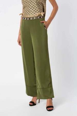 Long khaki pants HIBISCUS