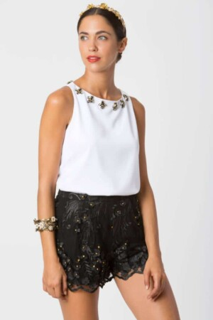 Black tulle shorts with floral motifs POPPY