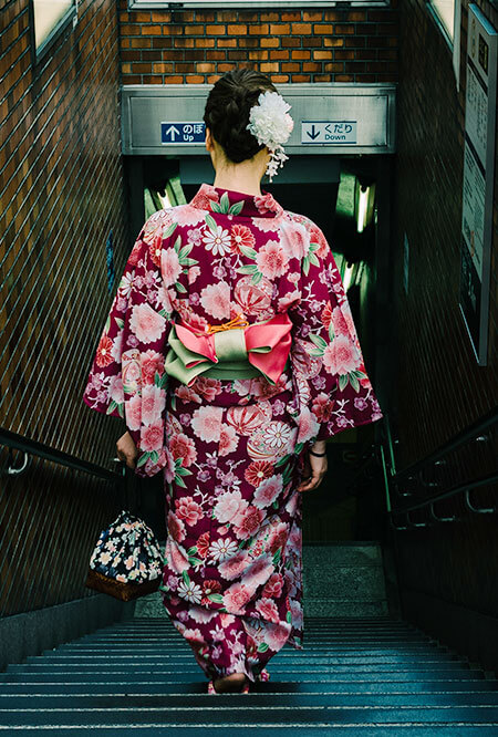 japanese woman wearing a yukata