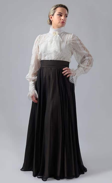 woman wearing a black long victorian skirt