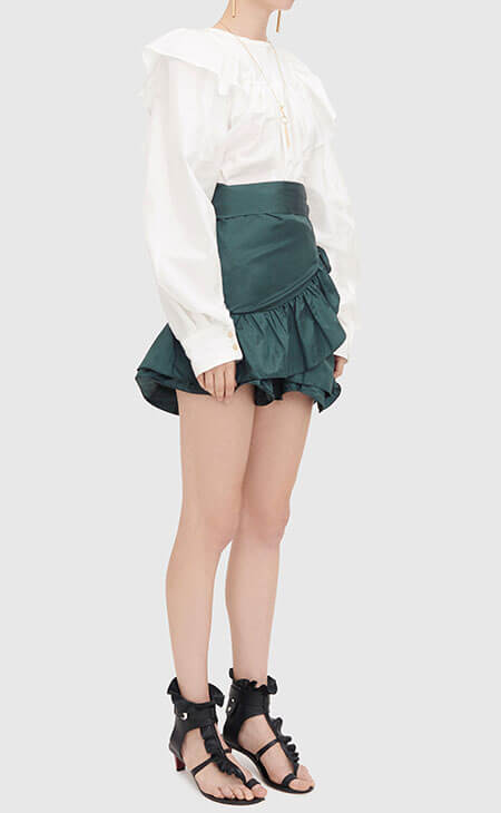 green short miniskirt