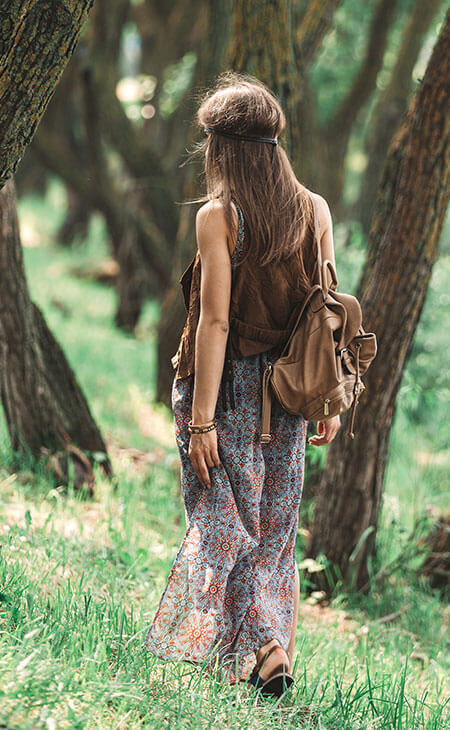 hippie young woman wearing a skirt outdoors