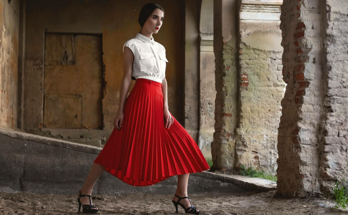 stylish woman wearing a red skirt