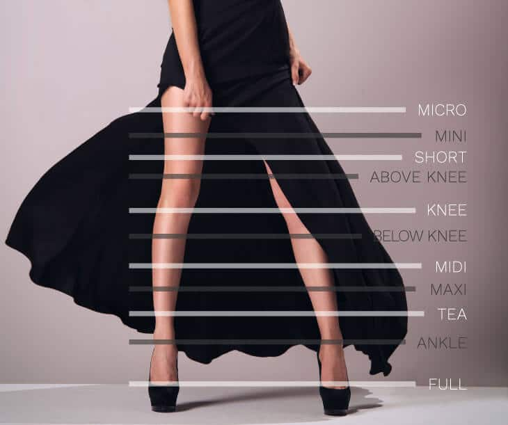 common skirt lenghts chart