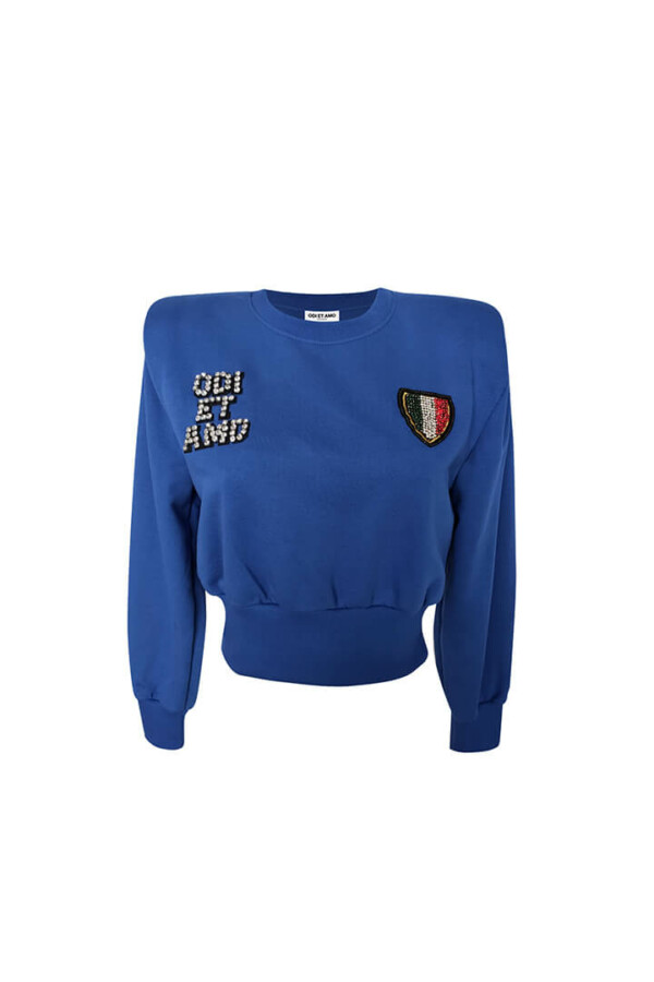 bright royal blue sweatshirt with shoulder pads