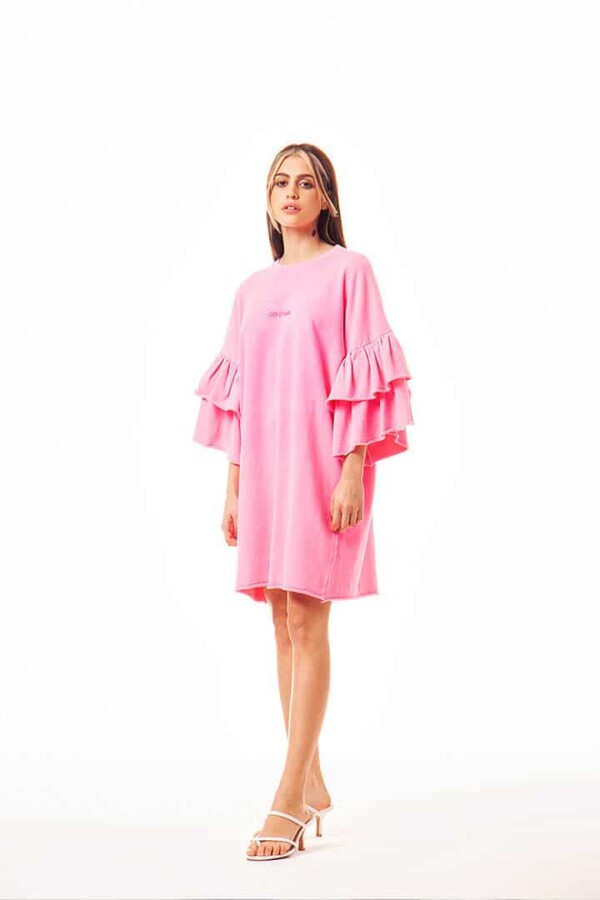 bright pink cotton dress with ruffle sleeves