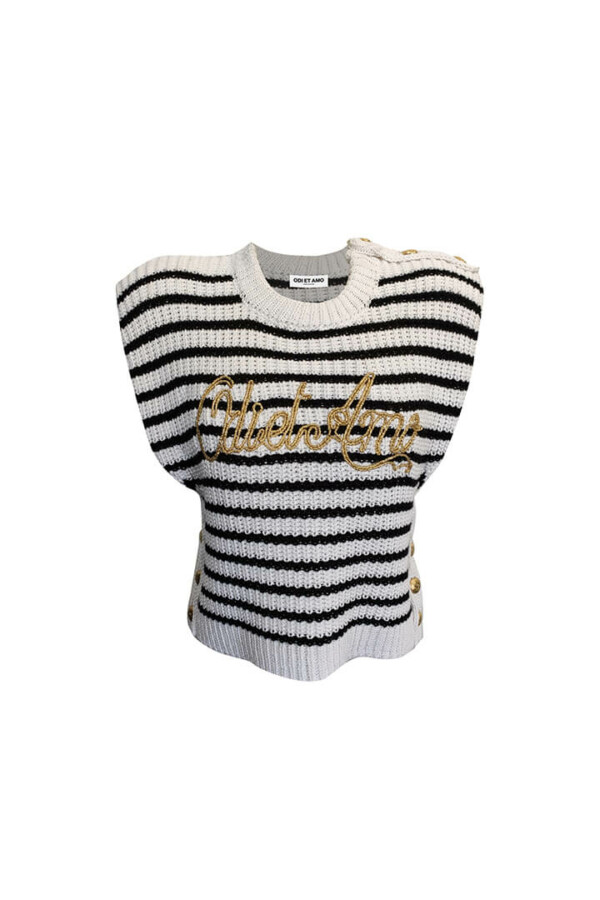 black and white jersey with padded shoulders
