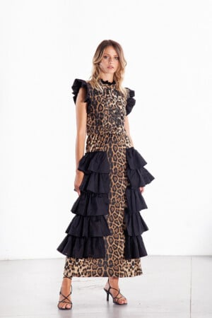 Long Animal Print Dress with Black Ruffles