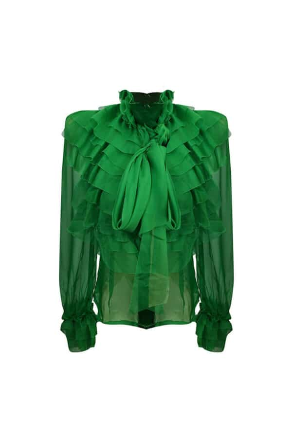bright green long sleeve blouse with ruffles and bow at the neck