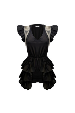 Black Mini Dress with Long Ruffles and short sleeves with fringed shoulder patch
