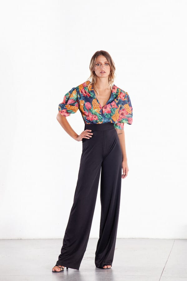 body blouse with jungle print