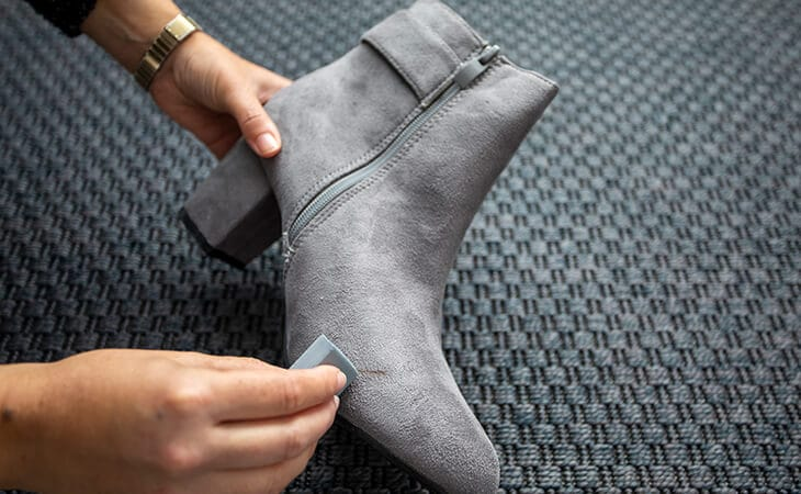 use a suede rubber or pencil eraser